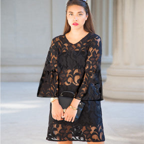 Black Lace Easy Dress With Bell Sleeves
