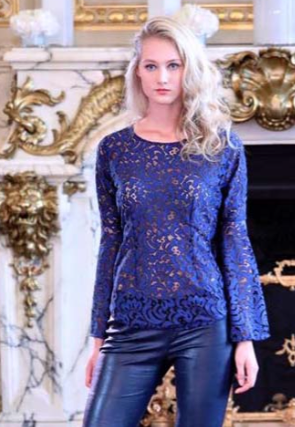 Blue lace top with  bell sleeves