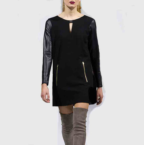 Black Faux Leather Long Sleeve Dress
