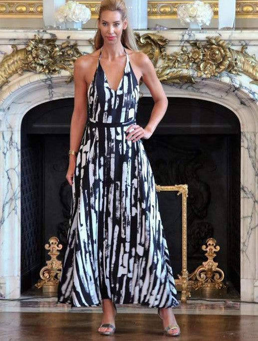 Black and White Abstract Print Maxi Dress