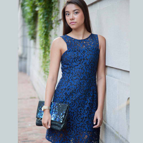 Blue Lace Sheath Dress
