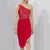 Red Lace One Shoulder Cocktail Dress