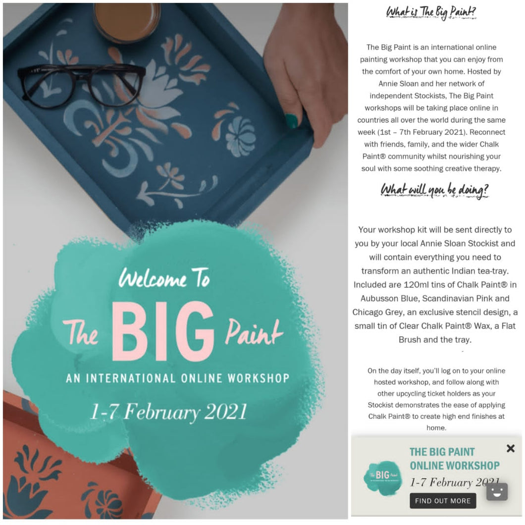Annie Sloan BIG PAINT On-line Workshop - Dates available 1st - 7th Feb 2021