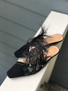 Black Feather Shoes with Crystals