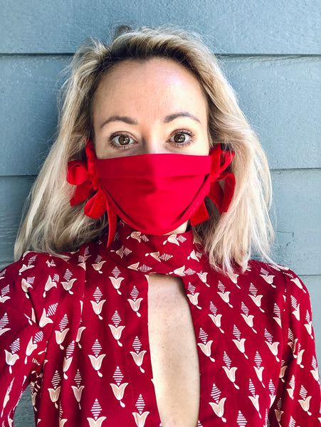 Red Designer Mask with Velour Ties