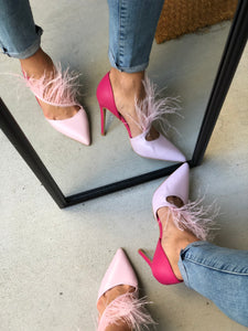 Pink Pumps Pointed Toe with Feather