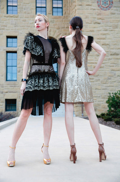 Couture Feathers Dress in Black and Gold Lace