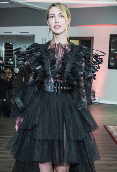 Black Gown Dress with Feathers and Removable Train