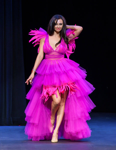 Fuchsia Tulle Dress with Feathers, Made to Order