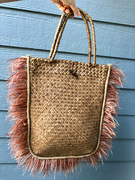 Only One Available! Trendy Straw Casual Beach Bag with Feathers Free Shipping!!!