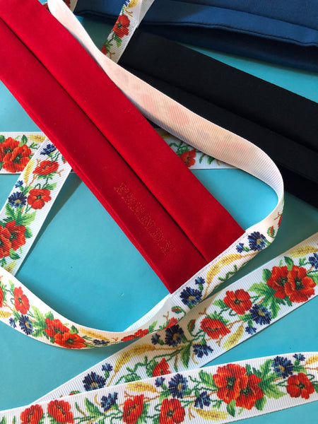 Black, Red, Blue Face Mask with Poppies Embroidery Print