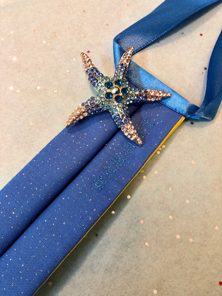 Designer Blue Sparkling Mask with Sea Star