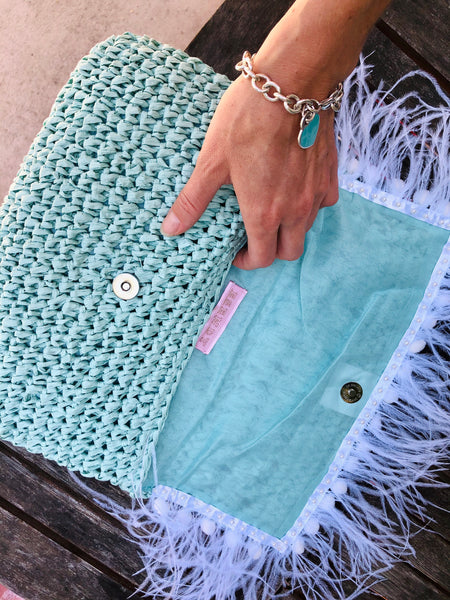 Blue Clutch Decorated with White Trim