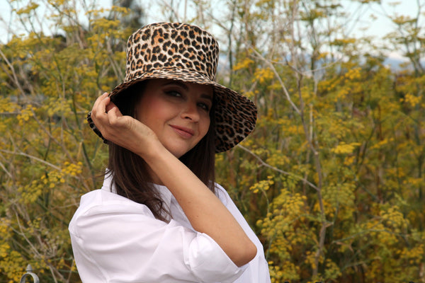 Custom Bucket Hat with Leopard Print and Silk Ribbon with Frida Kahlo