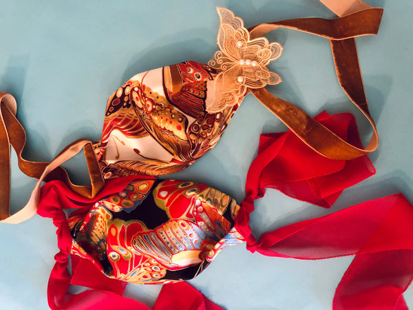 Cotton and Silk Face Mask With Handcrafted Signature Ribbons