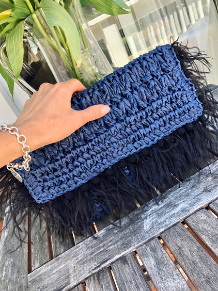 Evening Clutch Decorated with Ostrich Feathers. Trendy Summer Accessory, Only ONE Available. Fast FREE Shipping from California.