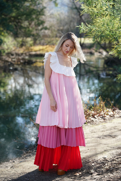 Pleated Dress in Pink with Square Neck Lane