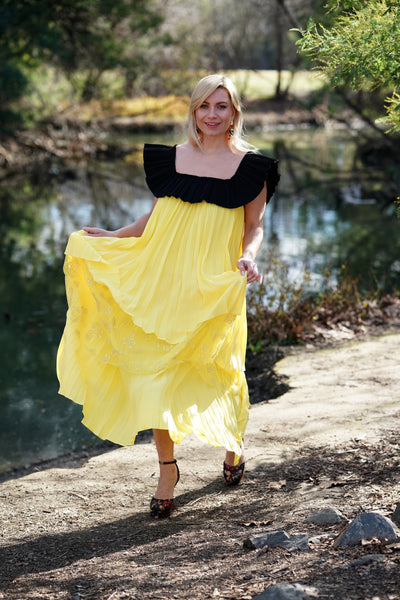 Ruffle Dress in Yellow with Square Neck Lane
