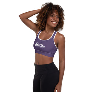 Purple Strong Confident Living Sports Bra