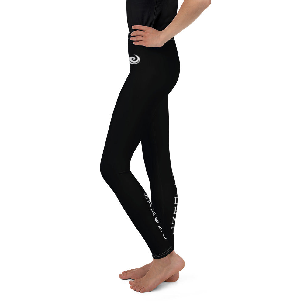 "Black ""Strong and Confident"" Leggings Youth 8-14"