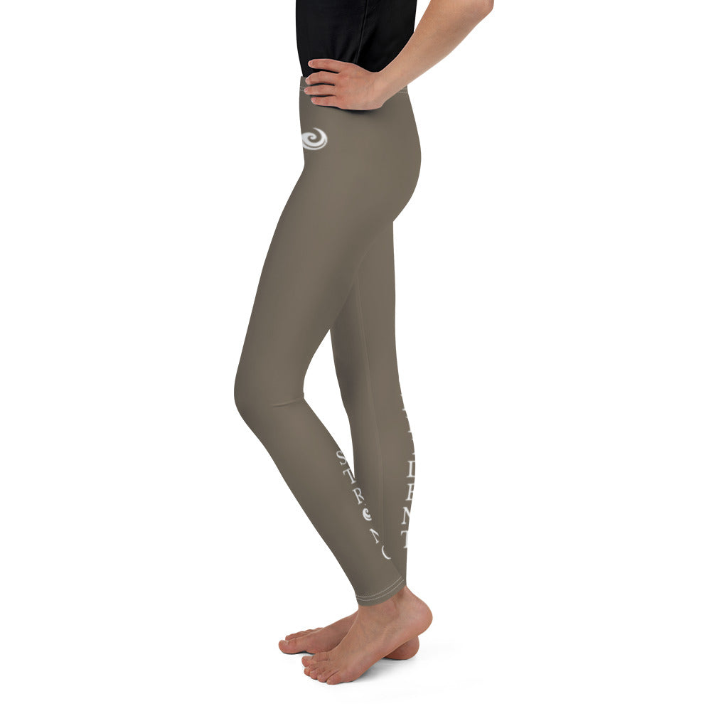"Tan ""Strong and Confident"" Leggings Youth 8-14"