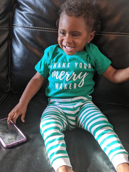Shake Your Merry Maker PJ set (green) - toddler & youth