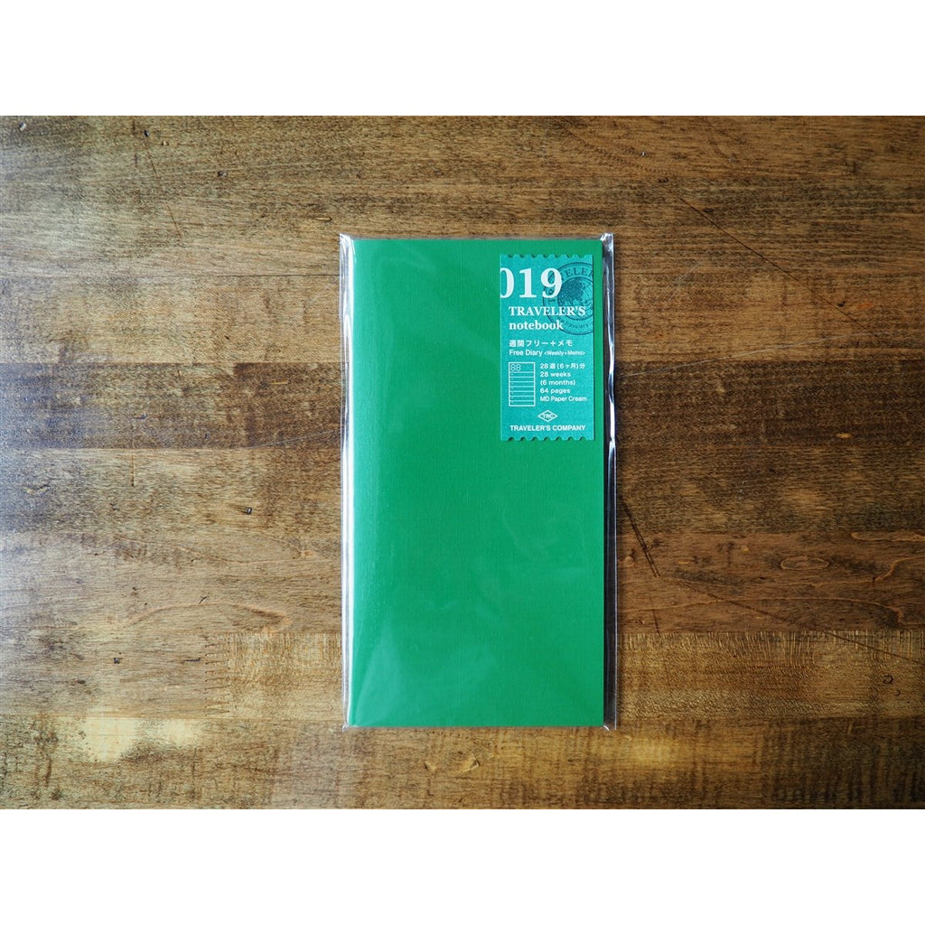 <center>Traveler's Notebook Regular Size Refill - 019 Weekly Planner + Memo</center>