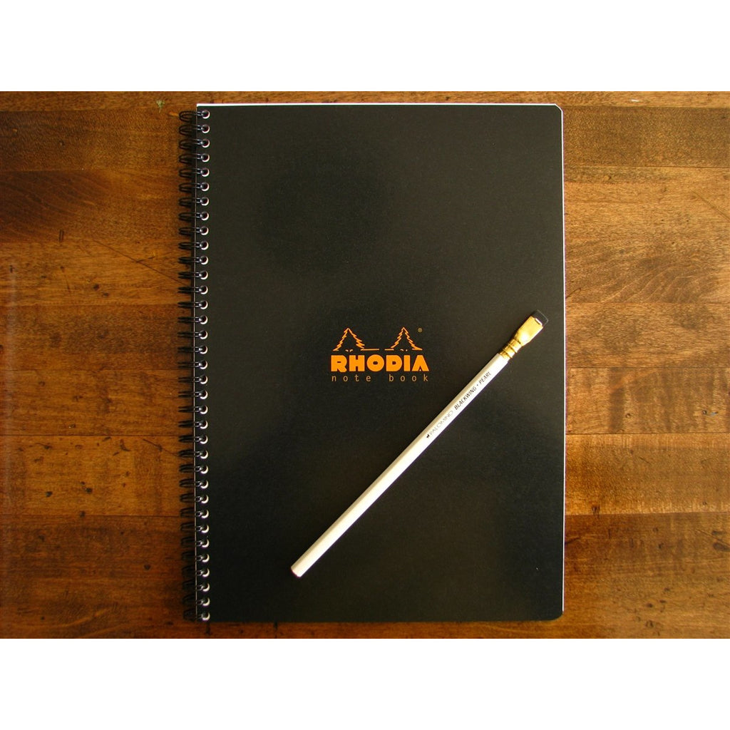 <center>Rhodia Classic Spiral Bound Notebook Lined - A4 Black (21cm x 29.7cm)</center>
