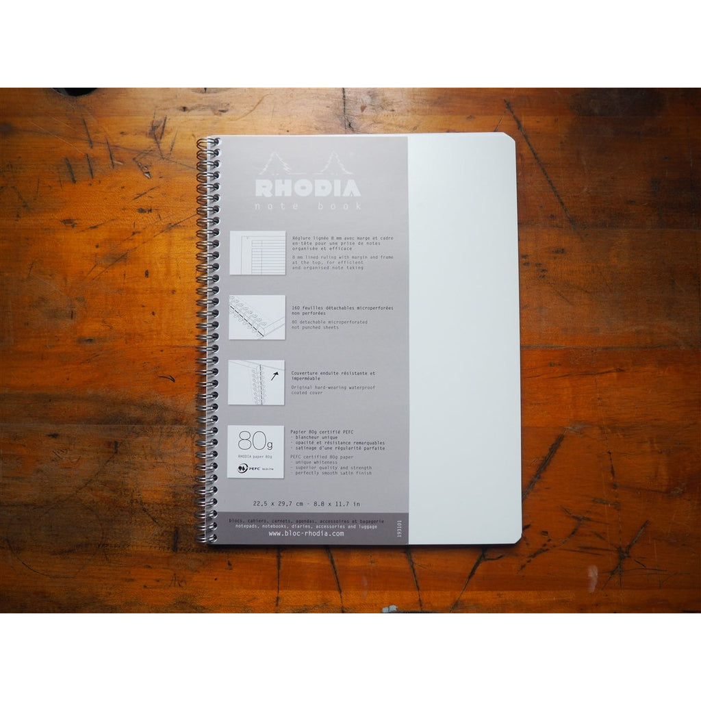 <center>Rhodia Classic Spiral Bound Notebook Lined - A4 Ice White (21cm x 29.7cm)</center>