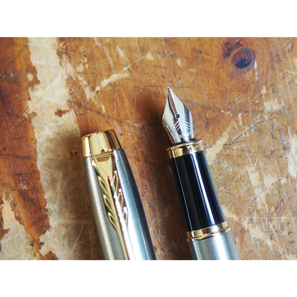 <center>Parker IM Fountain Pen - Silver with Gold Trim</center>