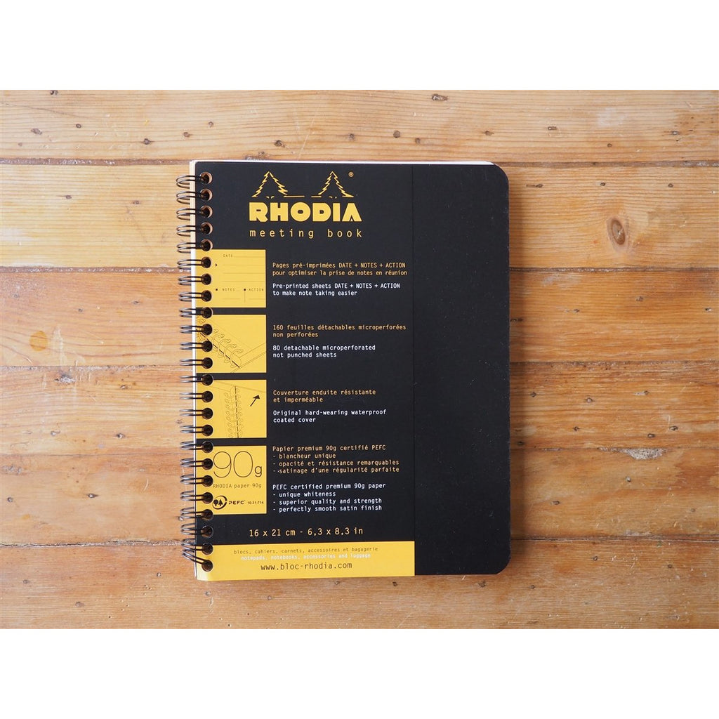 <center>Rhodia Spiral Bound Meeting Notebook - A5+ Black (16cm x 21cm)</center>
