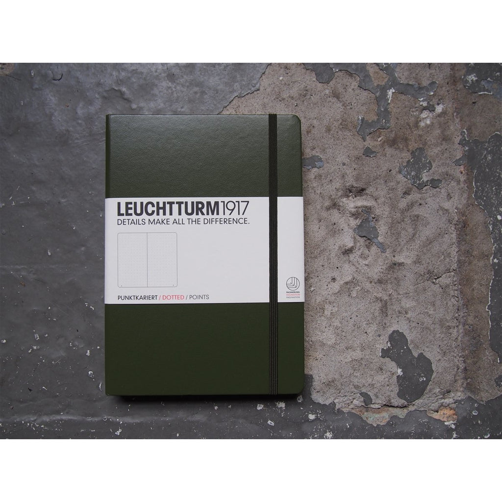 <center>Leuchtturm Hardcover A5 Notebook - Army Green (Dot)</center>