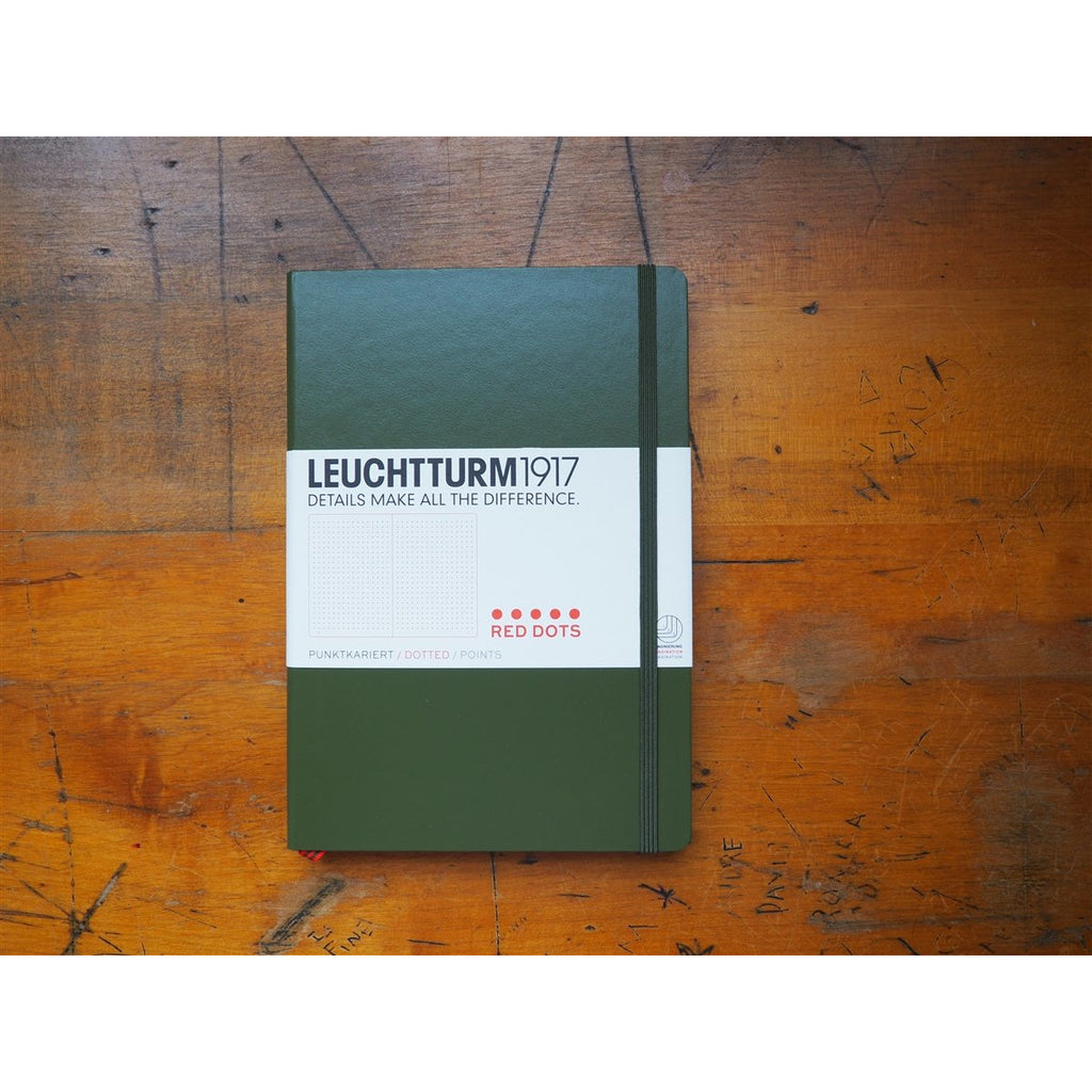 <center>Leuchtturm Hardcover A5 Notebook - Special Edition - Army Green (Red Dot)</center>