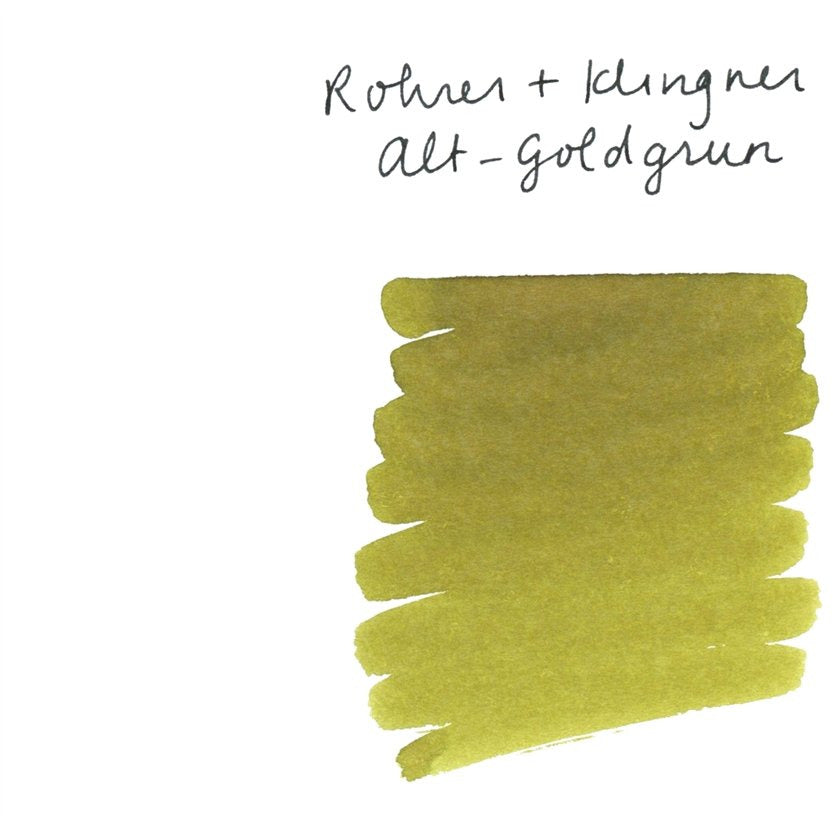 <center>Rohrer & Klingner Fountain Pen Ink (50mL) - Alt-Goldgrun (Old Golden Green)</center>