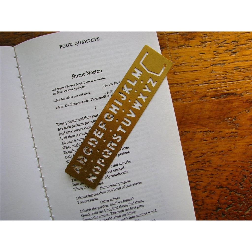 <center>Traveler's Company Brass Bookmark and Alphabet Guide</center>