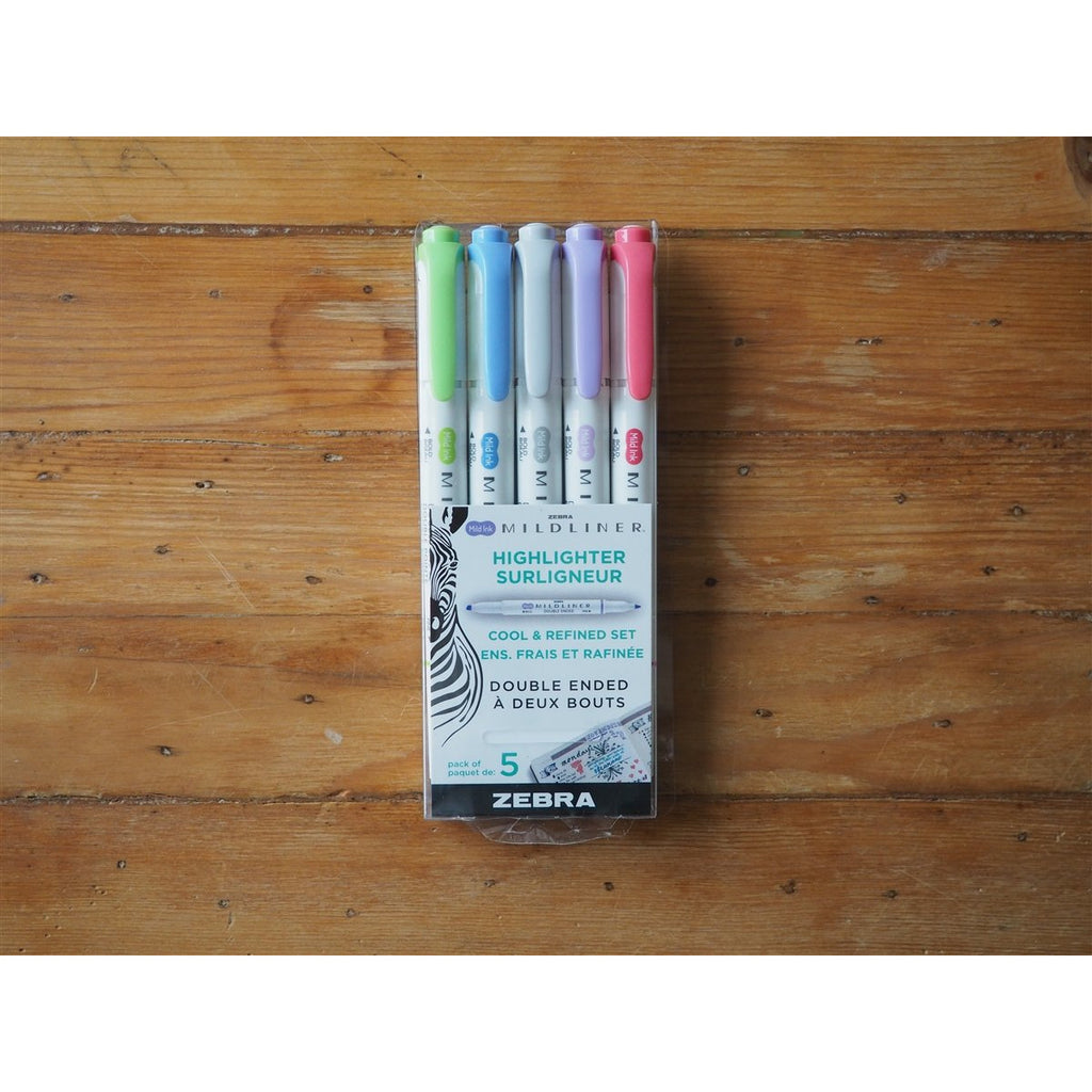 <center>Zebra - Mildliner Highlighter - Cool & Refined - 5 Pack</center>