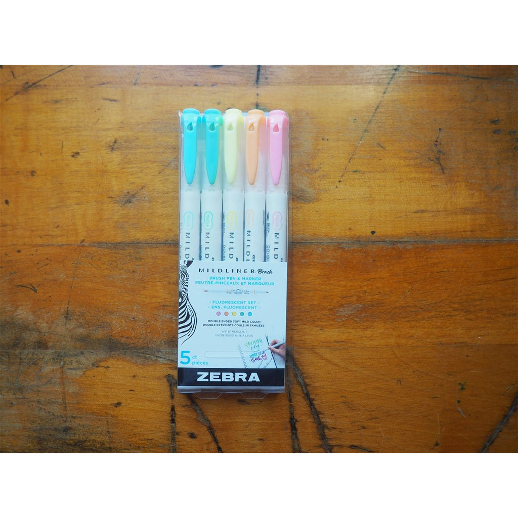 <center>Zebra - Mildliner Brush - Fluorescent - 5 Pack</center>