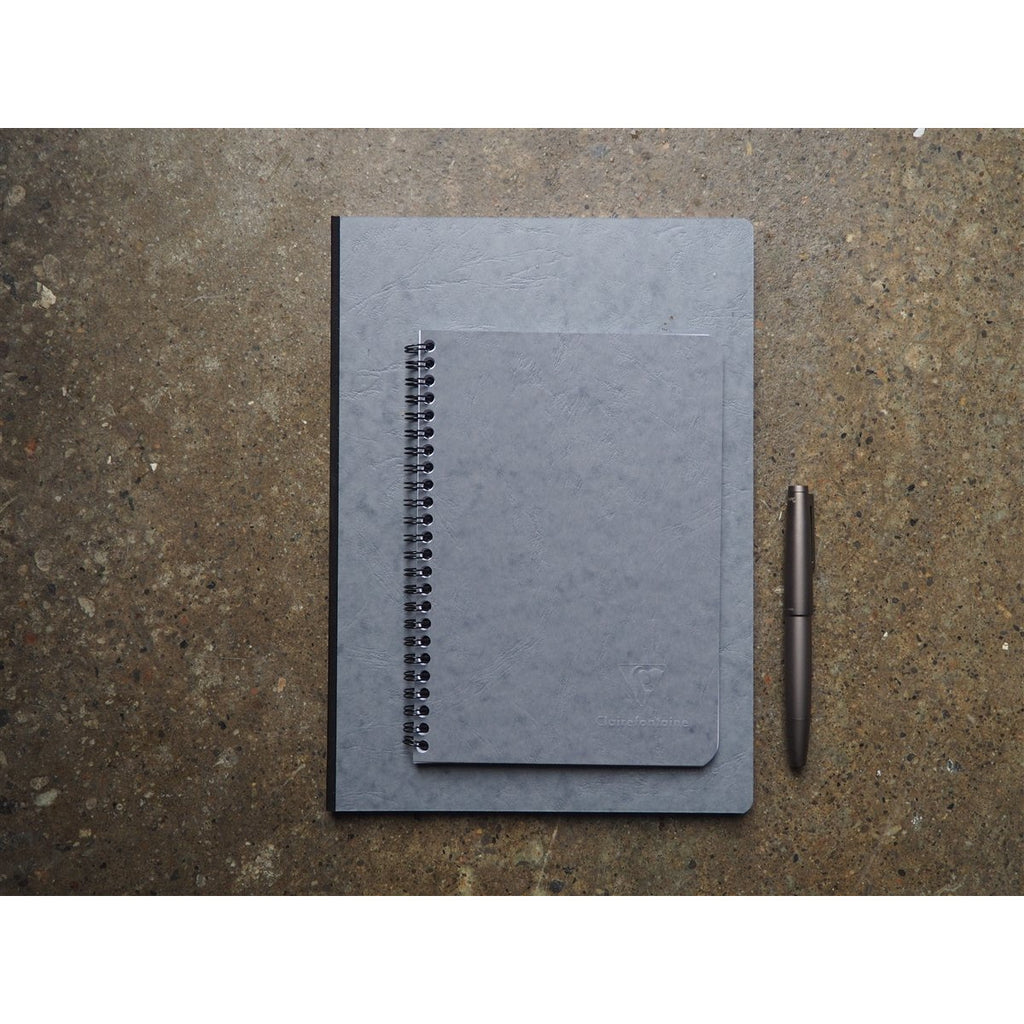 <center>Clairefontaine Age-Bag Grey Spiral Bound Notebook A5 - Lined</center>