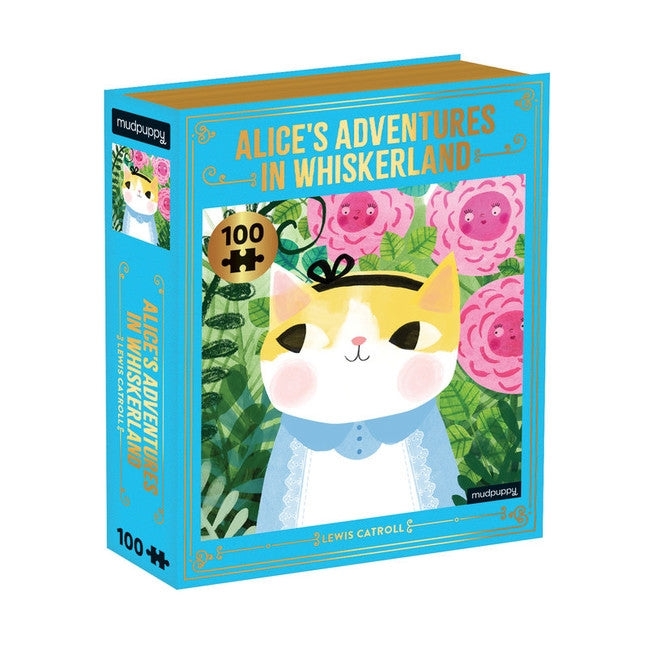 <center>Alice's Adventures in Whiskerland Bookish Cats - 100 Piece Puzzle</center>