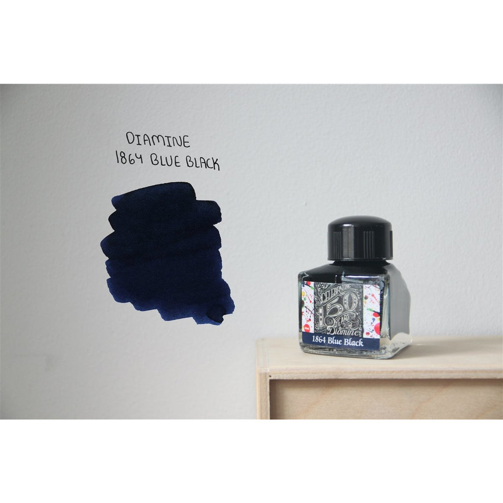 <center>Diamine 150th Anniversary Ink (40 mL)- 1864 Blue Black</center>