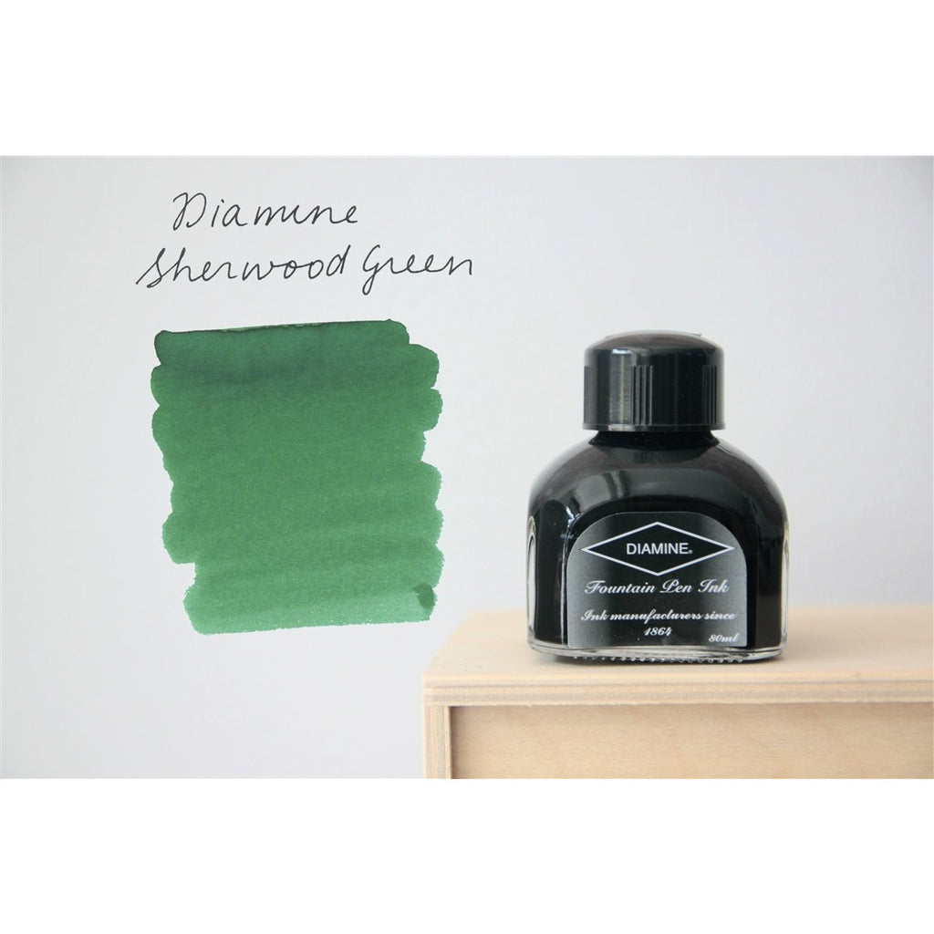 <center>Diamine Fountain Pen Ink (80mL) - Sherwood Green </center>