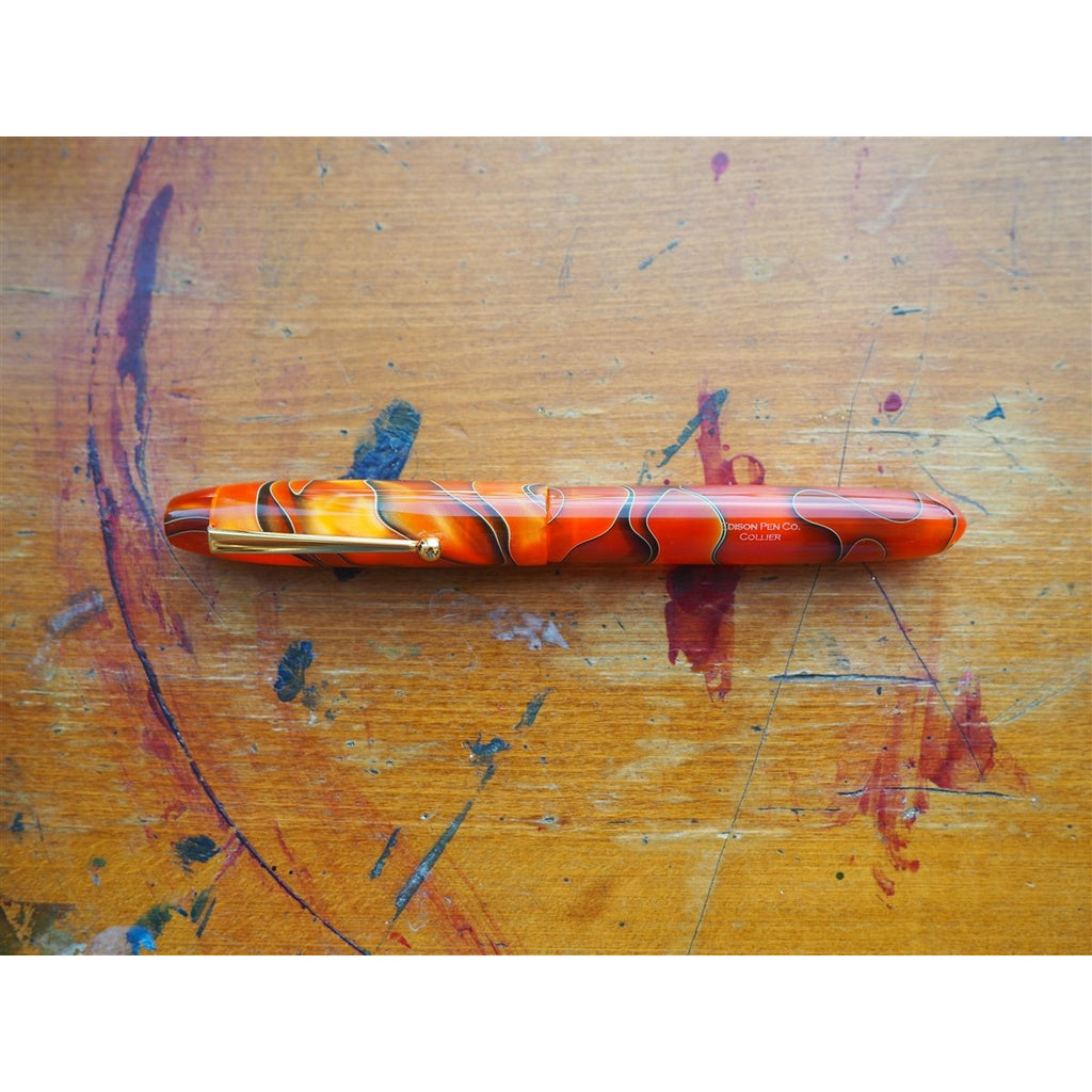 <center>Edison Pen Co. Fountain Pen - Collier Persimmon Swirl</center>