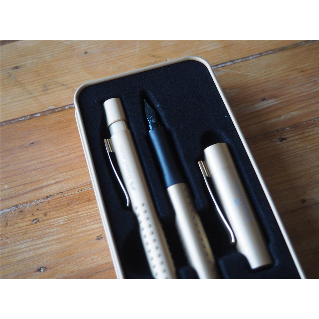 <center>Faber-Castell - Grip Edition Fountain Pen and Ballpoint Gift Set - Gold</center>