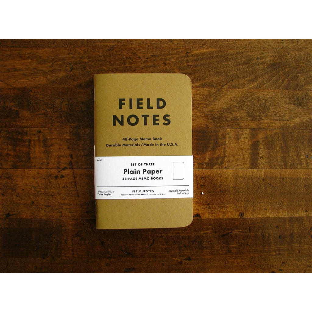 <center>Field Notes Memo Book Original 3-Pack - Plain</center>