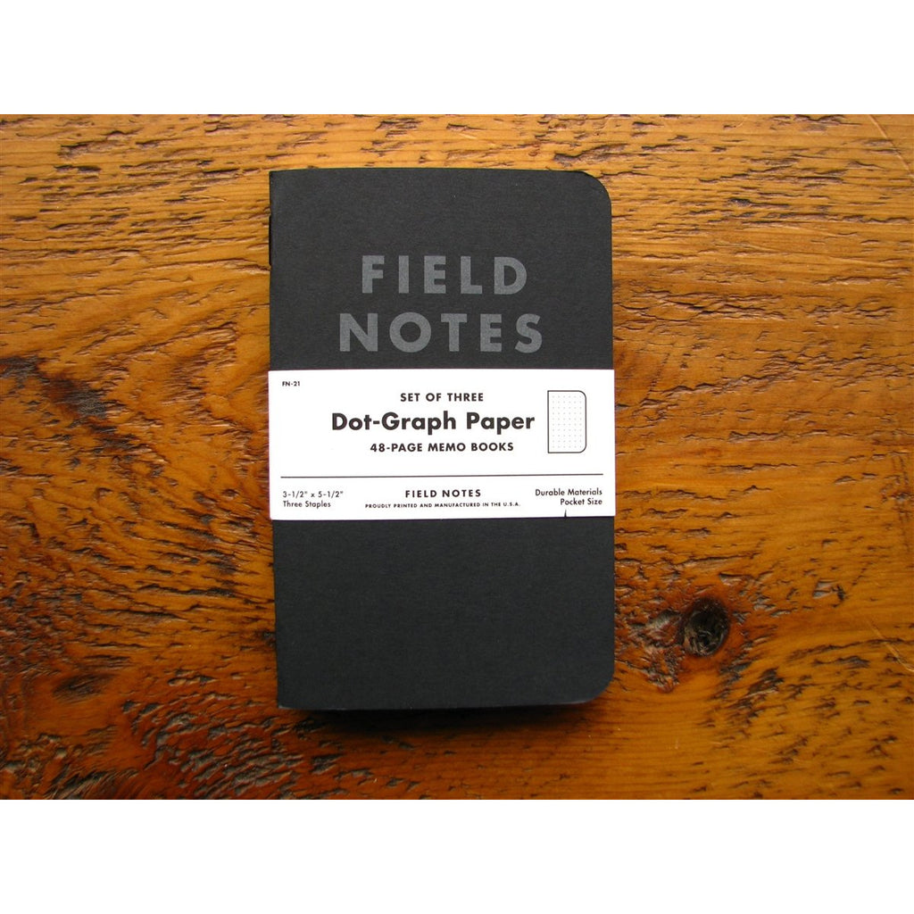 <center>Field Notes Memo Book Pitch Black 3-Pack - Dot</center>