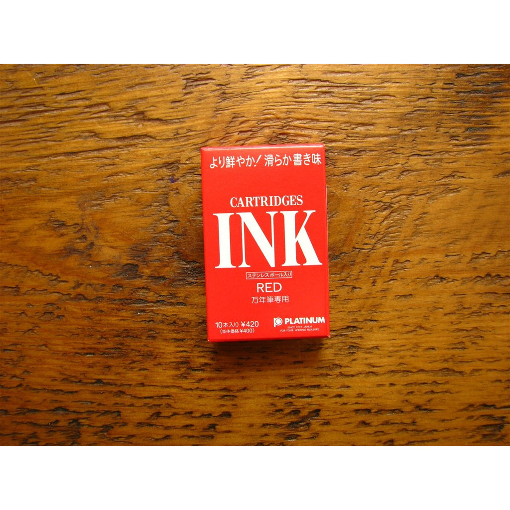<center>Platinum Ink Cartridges - Red (Box of 10)</center>