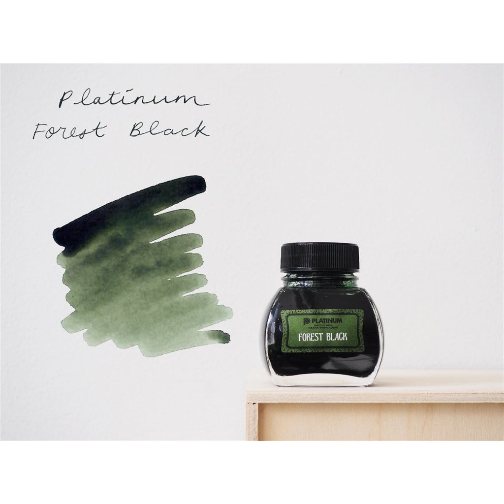 <center>Platinum Classic Iron Gall Fountain Pen Ink (60 ml) - Forest Black </center>