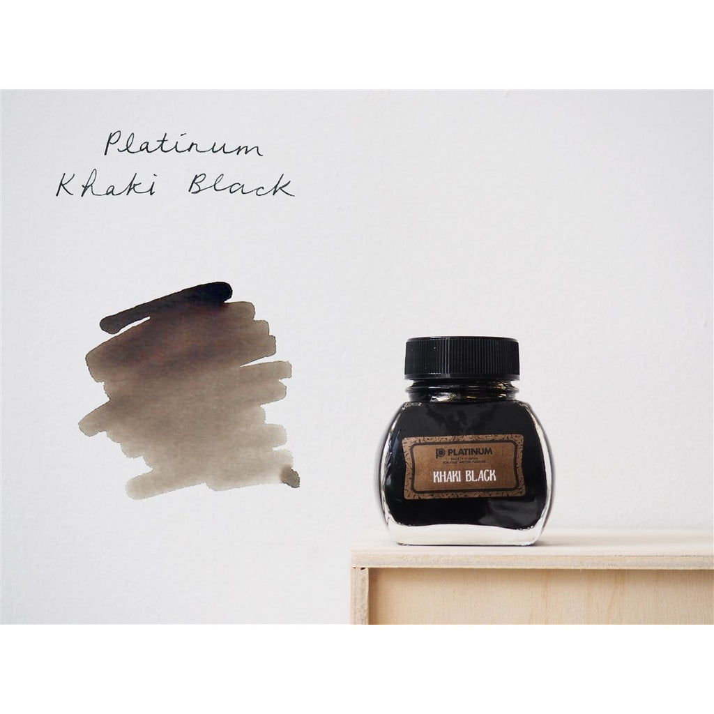<center>Platinum Classic Iron Gall Fountain Pen Ink (60 ml) - Khaki Black</center>