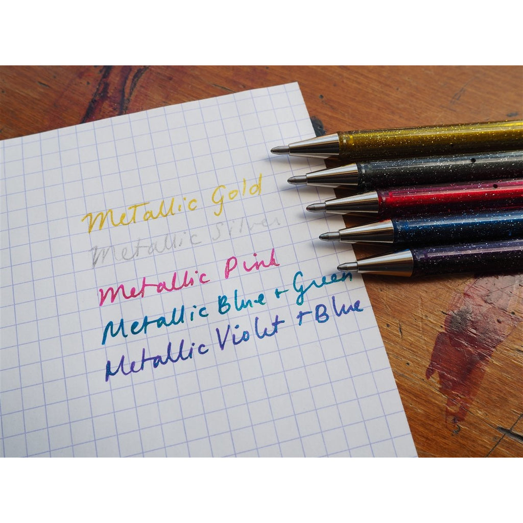 <center>Pentel Hybrid Dual Metallic Gel Pen - Violet & Metallic Blue</center>