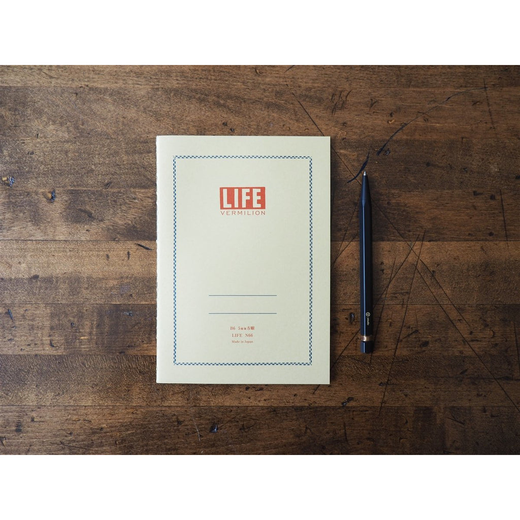 <center>Life Japanese Stationery Vermilion Notebook B6 - Grid</center>